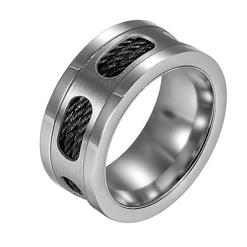 JewelryWe Clásico Anillo de Compromiso para Hombre, Acero Inoxidable 10mm Anillo Color Plata Negro,
