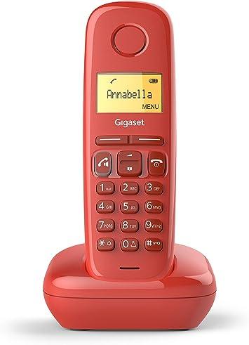 Gigaset A270 - Teléfono inalámbrico manos libres, gran pantalla iluminada, agenda 80 contactos, color rojo: Gigaset: Amazon.es: Electrónica