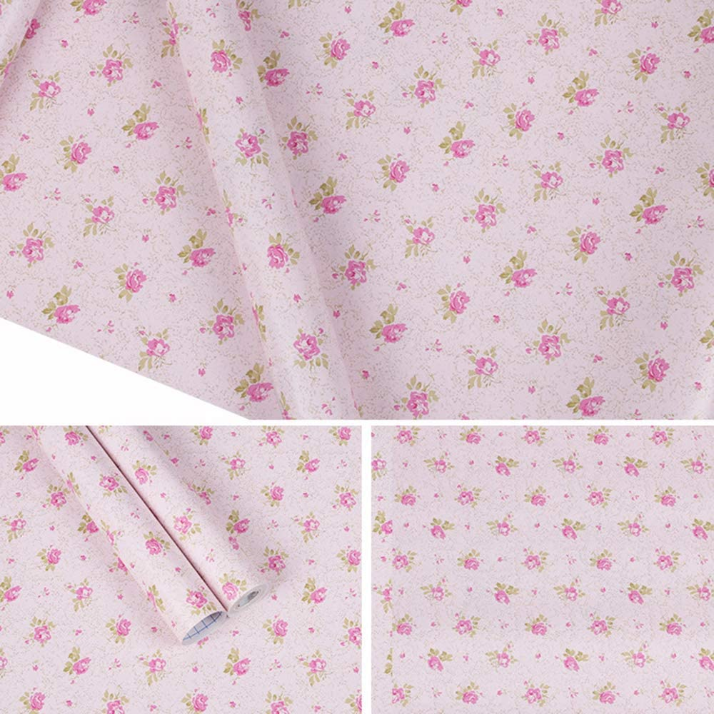 TaoGift Self Adhesive Vinyl Pink Floral Shelf Drawer Liner Furniture Paper Sticker for Cabinets Dresser Furniture Wall Arts Crafts Decal (Pink, 17.7x117 Inches)