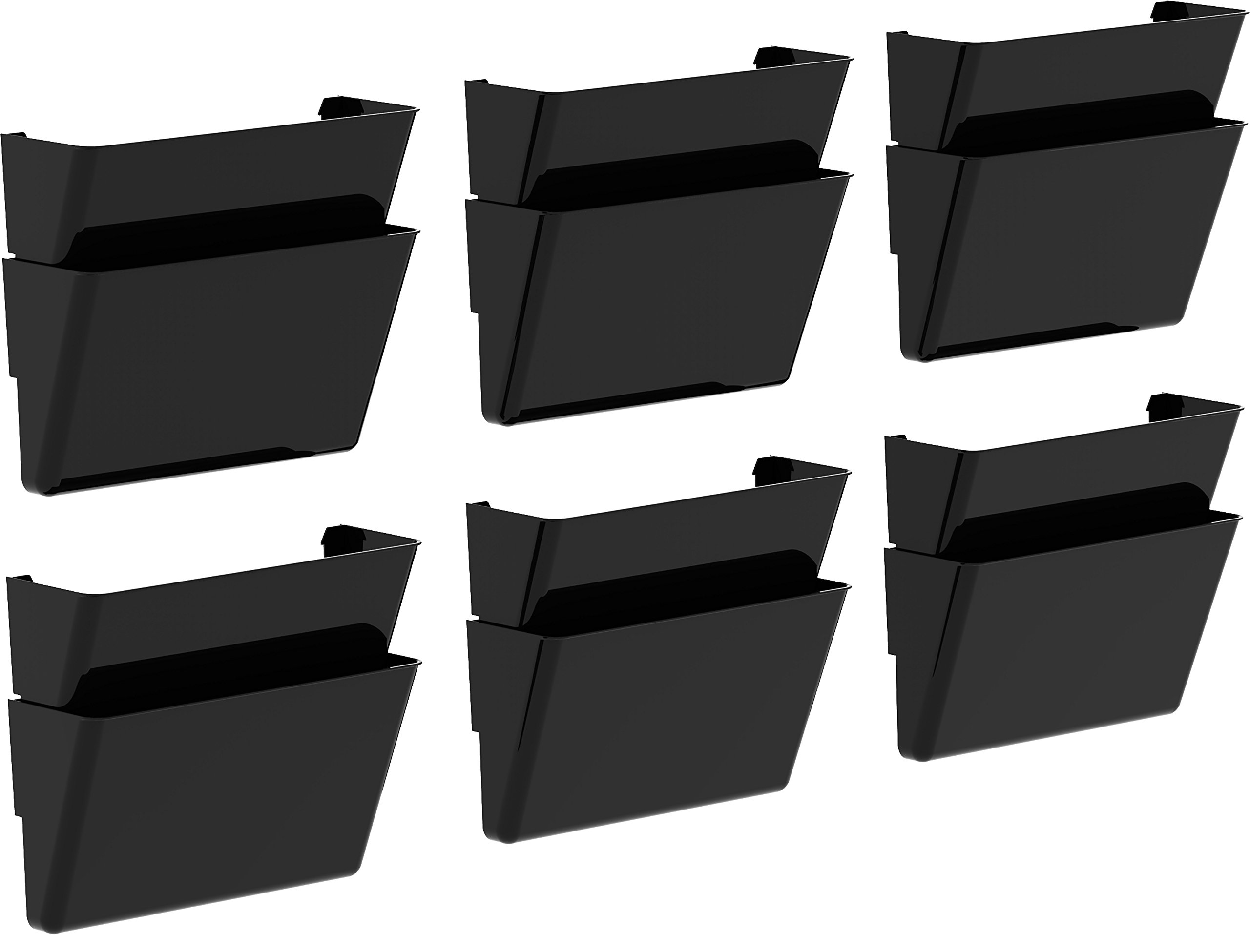 Storex Recycled Legal Sized Wall Files, 2-Pack, Black, Case of 6 (STX70210B06C)