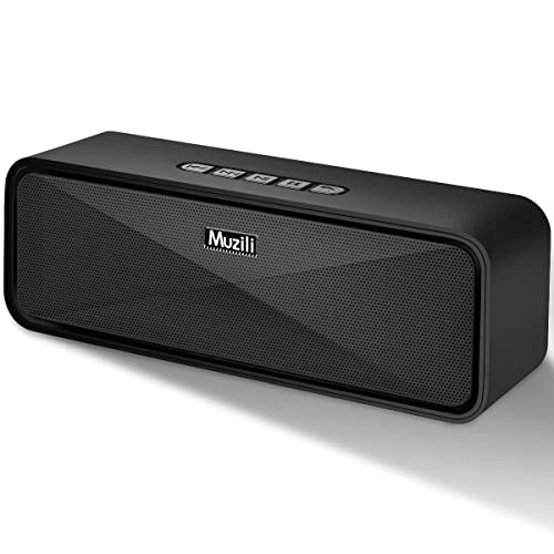 Muzili Bluetooth Speakers with HD Sound, Enhanced Bass, Built-in Mic, Dual Driver Speakerphone, Hands-Free Calling, TF Card Slot Portable Wireless Speaker for Bedroom, Kitchen, Travel, Party, Car
