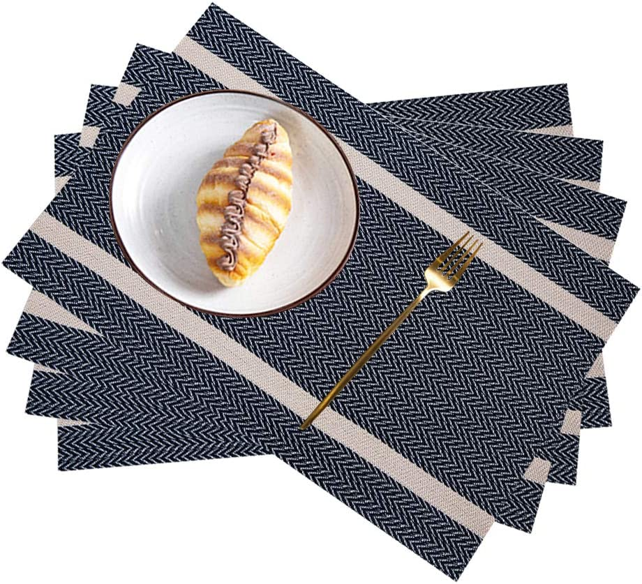 Pahajim Placemat, Heat-Resistant Placemats Stain Resistant Anti-Skid Washable PVC Table Mats Woven Vinyl Placemats (B Navy-Gold, 4pcs placemats)