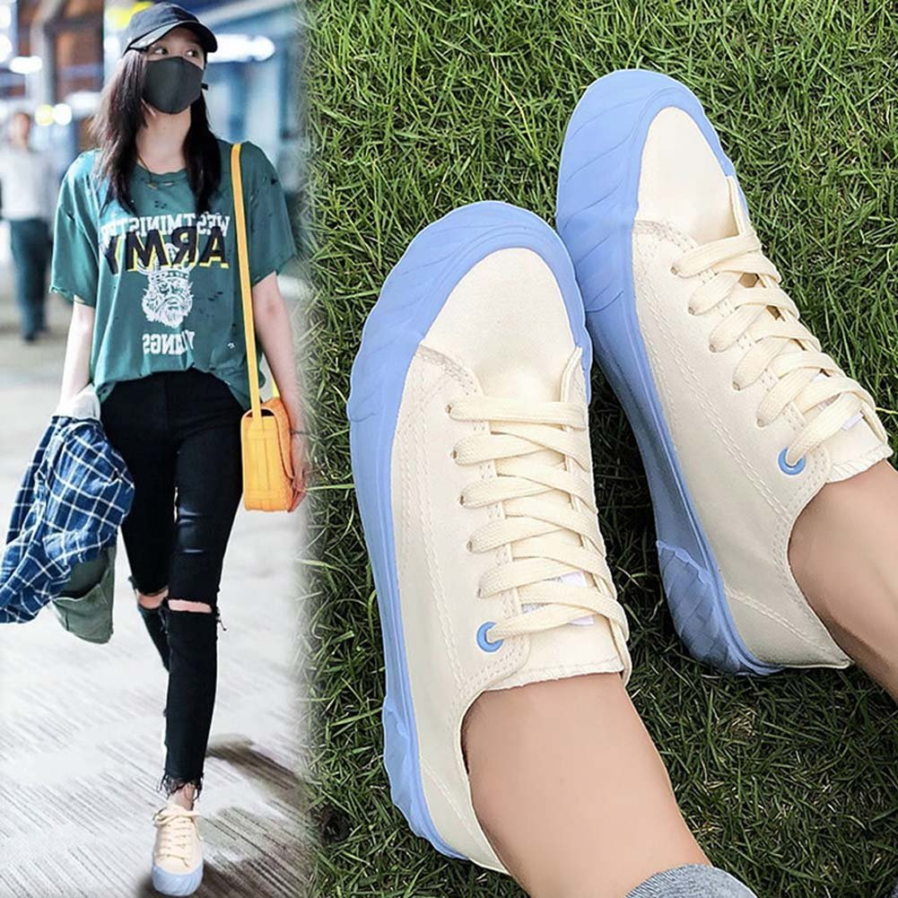 Tonigue Zapatos De Lona Estudiantes Femeninos Harajuku Wild Flat Ins Zapatos Zapatos Shoesuk3-UK7 EU36UK4|Blue