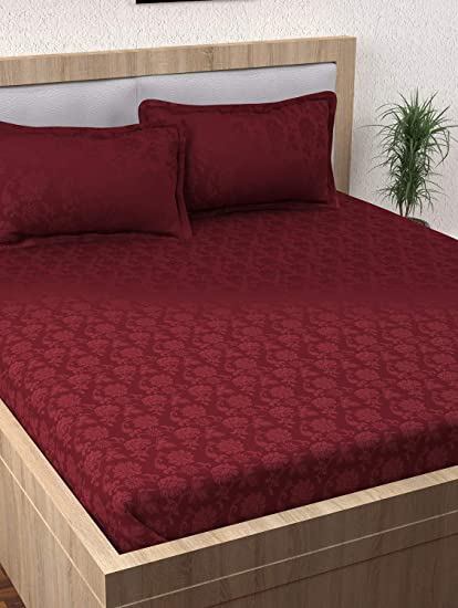 76984615d8 Story@Home 400 TC 100% Cotton Nirvana Collection Jacquard Pattern 1 King  Size Bedsheet with 2 Pillow Cover - Magenta: Amazon.in: Home & Kitchen