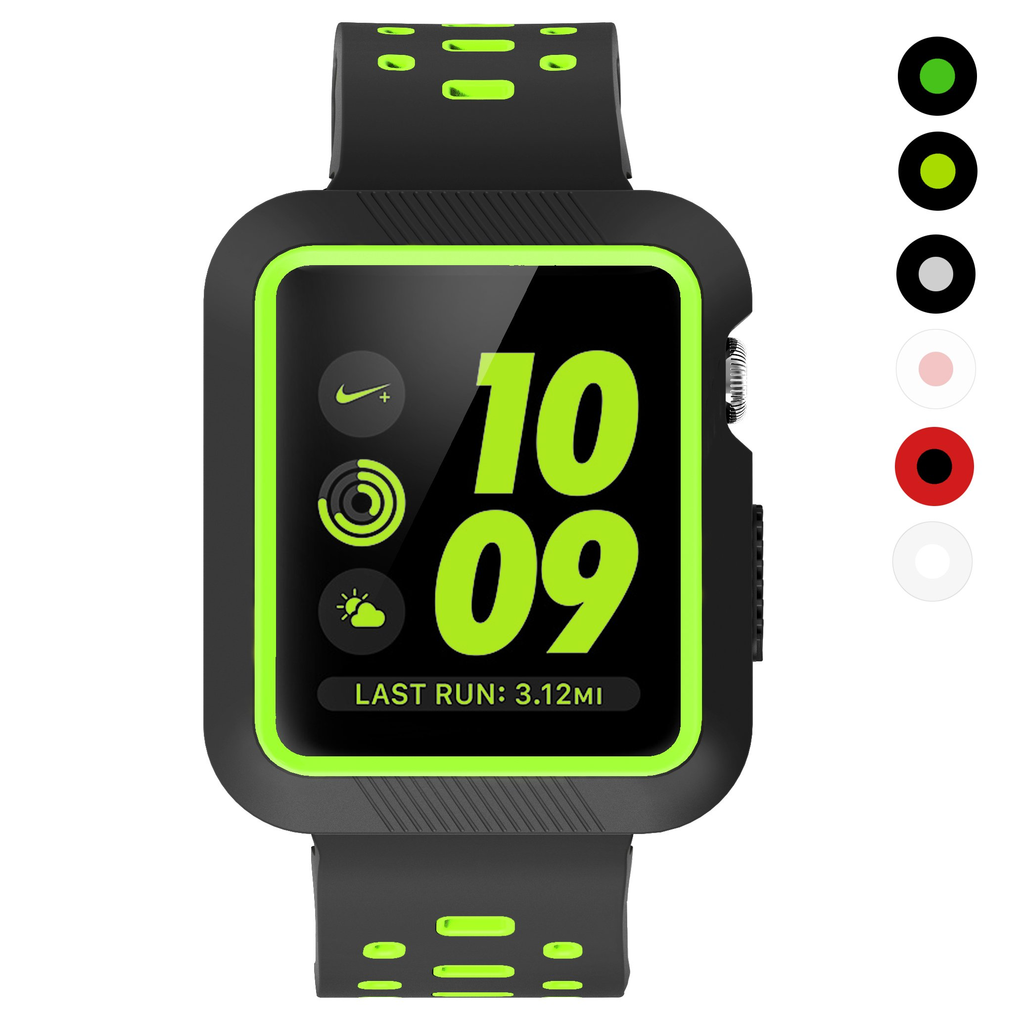 Galleon Kartice For Apple Watch Series 3 Bandshock Proof And 2 38mm Black Shatter Resistant Protective Case With Soft Silicone Sport Bracelet Wristband All