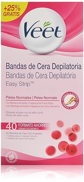 Veet Cera Fría Depilatoria para Piel Normal - 40 Bandas: Amazon.es: Amazon Pantry