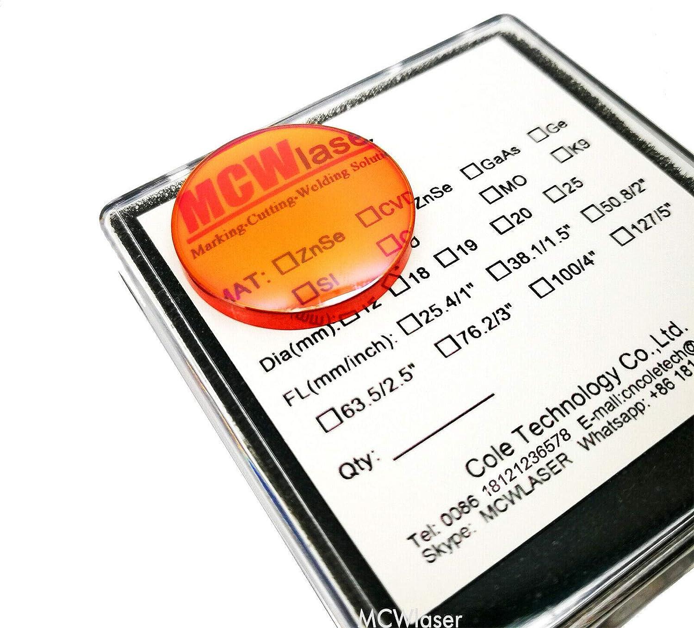 MCWlaser 18mm ZnSe Focus Lens for CO2 10600nm 10.6um Laser Engraving Cutting Engraver//Cutter Dia:18mm FL 2.5 or 63.5mm