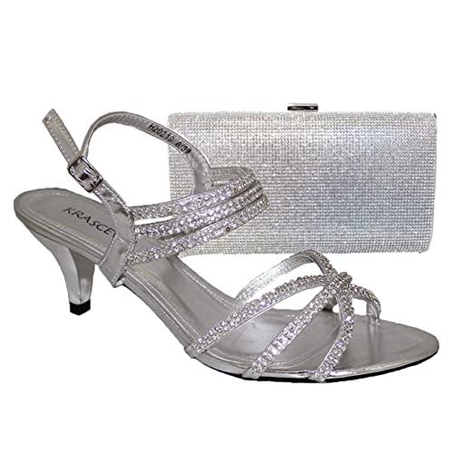 0924567637 Glitz Ladies Silver Diamante Low Mid Kitten Heels Ankle Strap Shoes Sandals  Matching Handbag (3