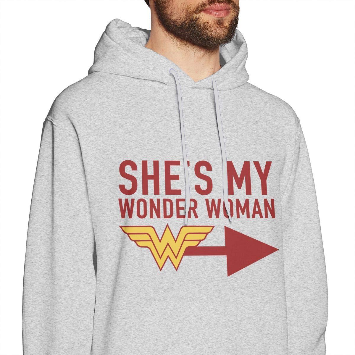 UESEU Mens Fashion Solid Color Hooded Long-Sleeve Drawstring Shes My Wonder Woman Hooded Sweatshirt