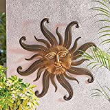 "27"" Outdoor Gold Metal Sun Face Wall Plaque Art Patio Garden Decoration Sign"