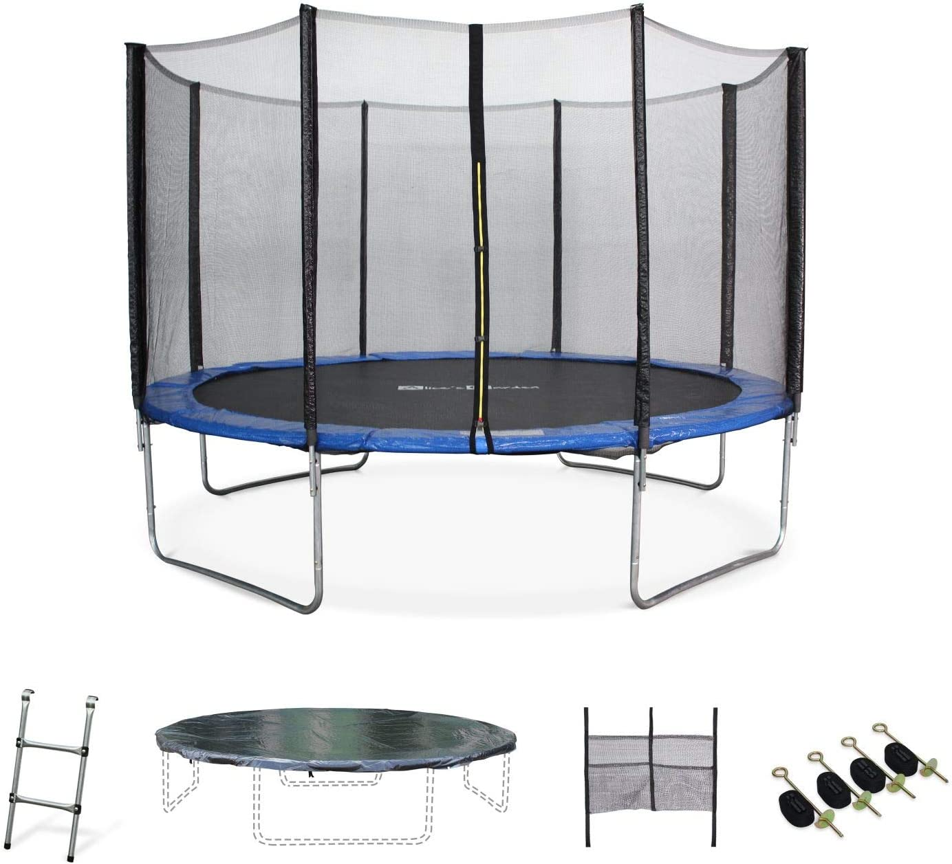 Alice S Garden 12ft Trampoline Blue Safety Enclosure Ladder Cover Storage Net For Shoes And Anchor Kit Reinforced Frame Max User Weight 100kg 220lbs 150kg 330lbs Using The Anchor Kit