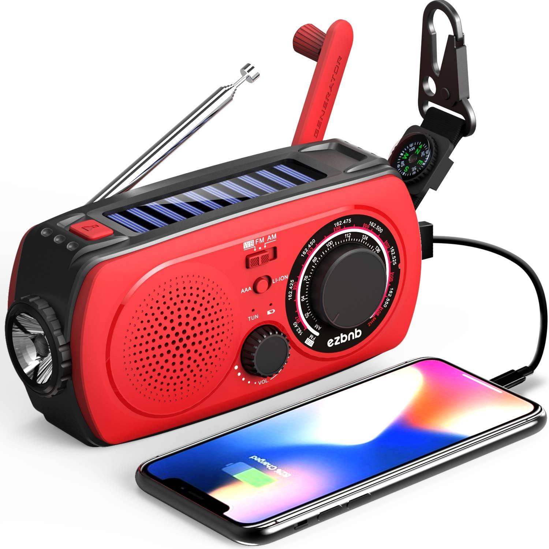 Alarma SOS Radio de Emergencia NOAA Linterna LED Br/újula Radio de Manivela Radio Meteorol/ógica para Senderismo y Exteriores con Am//FM//SW Puerto de Carga USB L/ámpara de Lectura Radio Solar