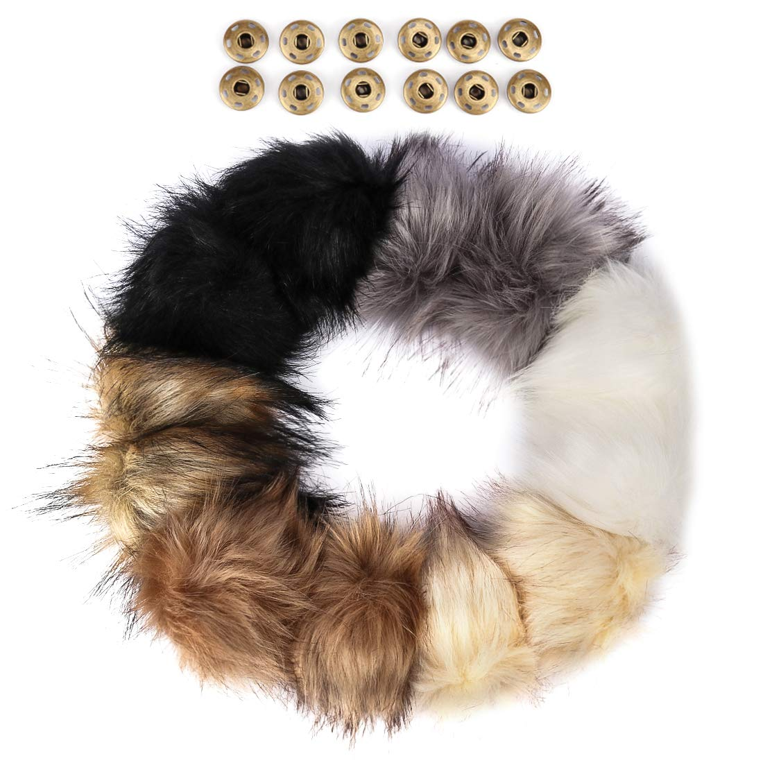 ANBALA 12 Pieces Faux Fox Fur Pompom for Knitting Hat Scarves with Press Buttons Detachable