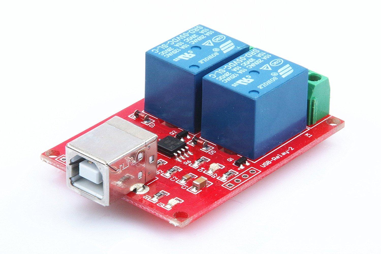KNACRO SRD-05VDC-SL-C 2-Way 5V Relay Module Free Driver USB Control Switch PC Intelligent Control
