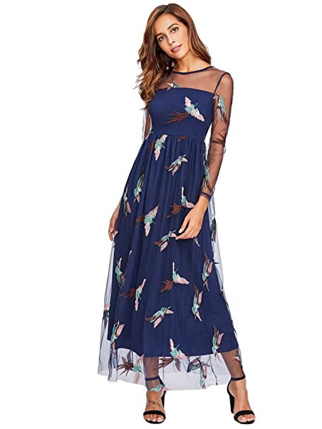 DIDK Womens A Line Long Sleeve Embroidered Mesh Overlay Maxi Dress