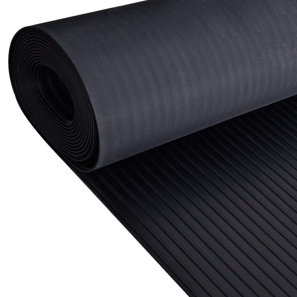 Rollo de piso ancho de goma acanalada | 4mm de espesor | 1.5m de ancho | 2m de largo | antideslizante | alfombrilla para suelos de seguridad para garaje, taller, gimnasio, estable, Parque etc Ark Rubber & Resin