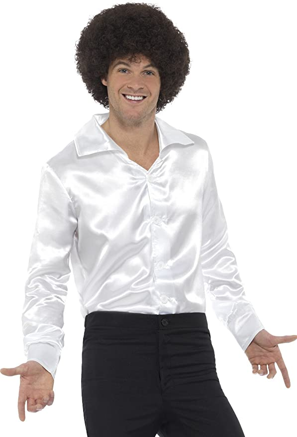 Mens Vintage Shirts – Casual, Dress, T-shirts, Polos Mens 60s 70s Groovy Dude White Disco Shirt Costume $26.60 AT vintagedancer.com