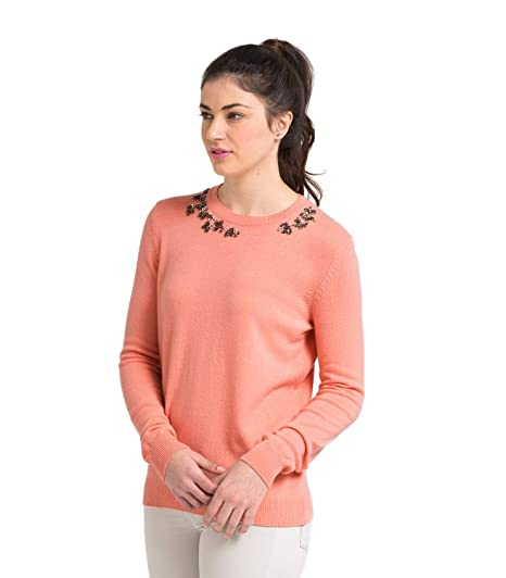 8468ac599b Wool Overs WoolOvers Womens Cashmere and Merino Embellished Crew Neck  Knitted Jumper Light Coral