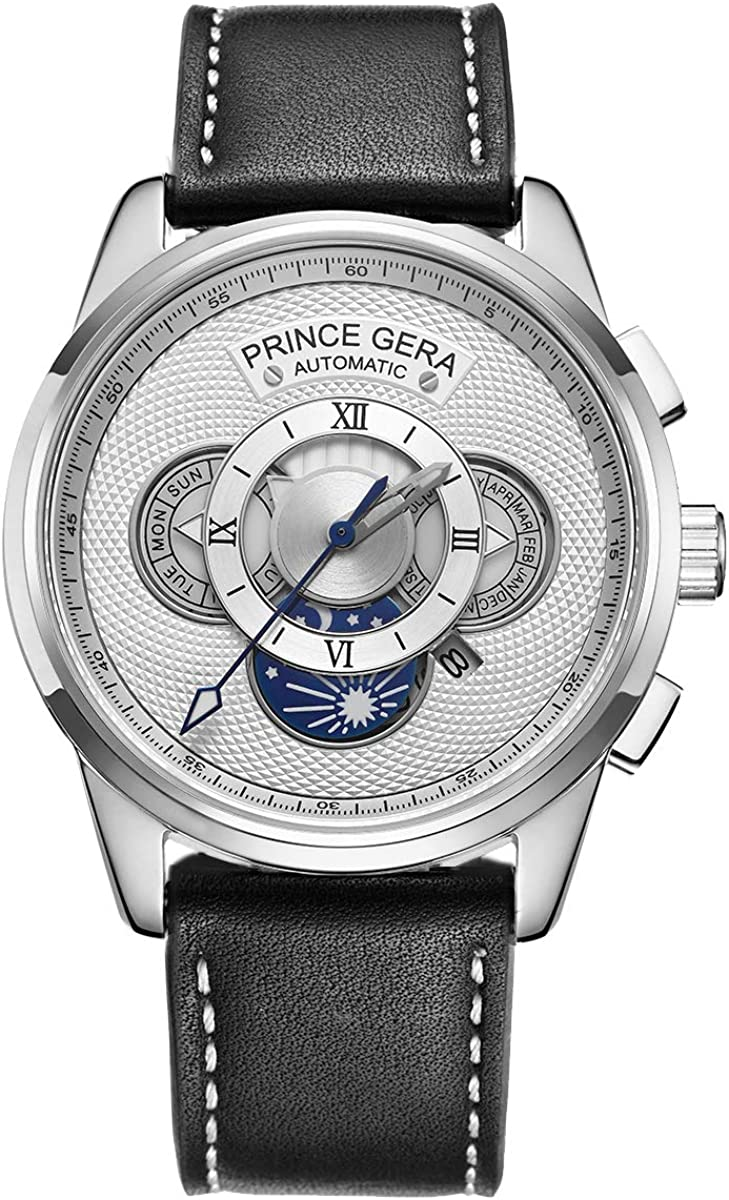 Prince GERA Gold Sliver Men s Automatic Watches Waterproof Calfskin Leather Straps Black White Dial Watch