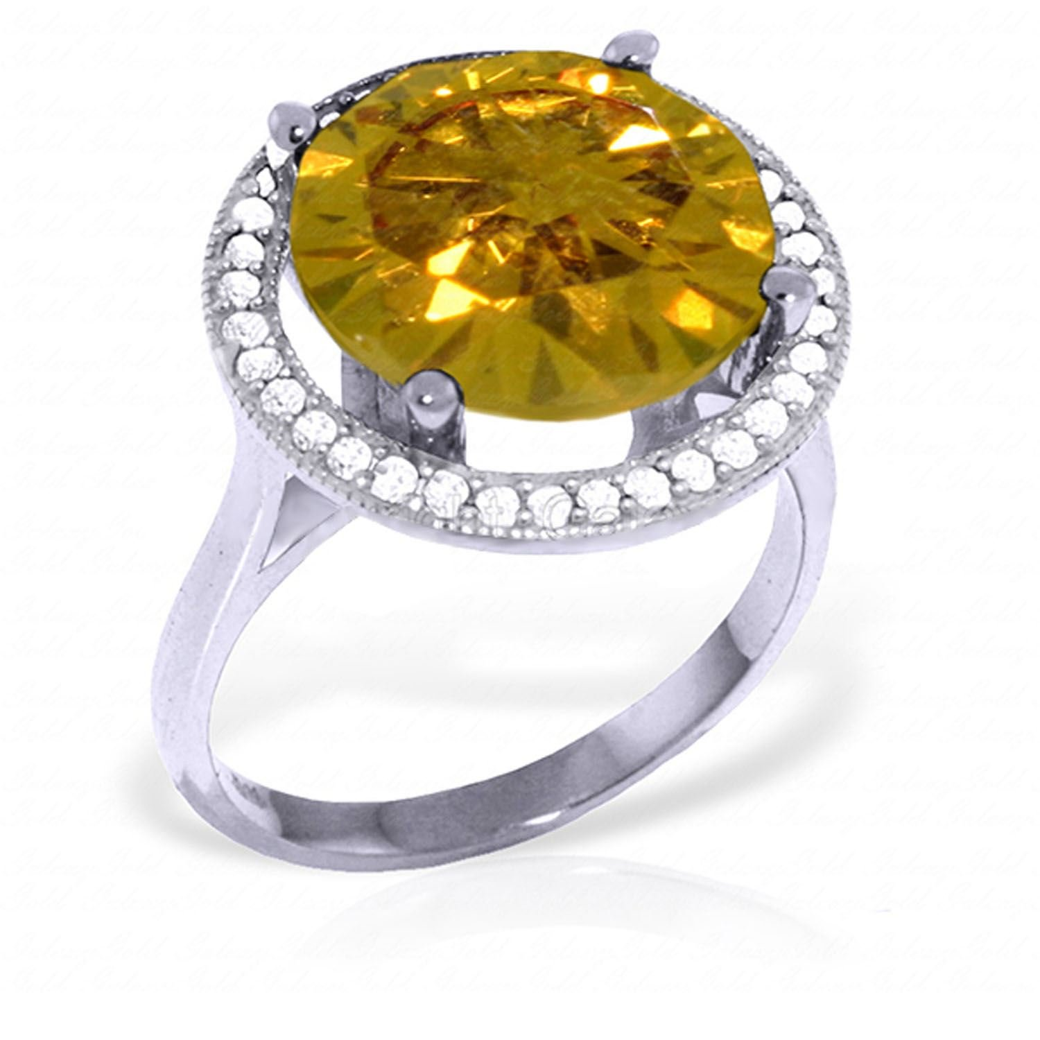 ALARRI 6.2 Carat 14K Solid White Gold Conjure Up Citrine Diamond Ring With Ring Size 11