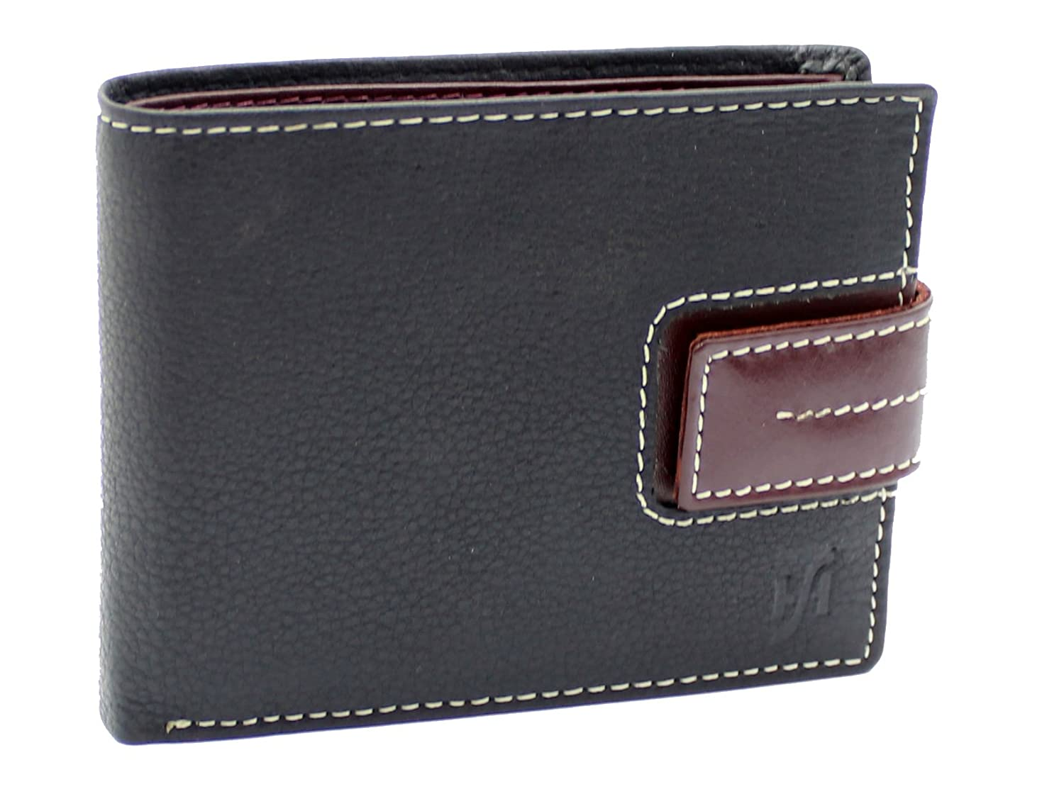 Mens RFID Blocking Soft Leather Flip Up ID Pocket Wallet Black Brown