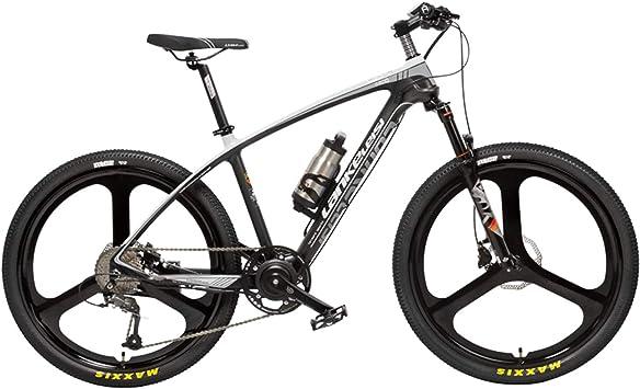 LANKELEISI S600 Bicicleta eléctrica de 26 Pulgadas 240W, Cuadro liviano de Fibra de Carbono, Freno de Disco hidráulico, Horquilla de suspensión con Resorte de Gas y Aceite, 5 Pas (Black White, 6.8Ah):