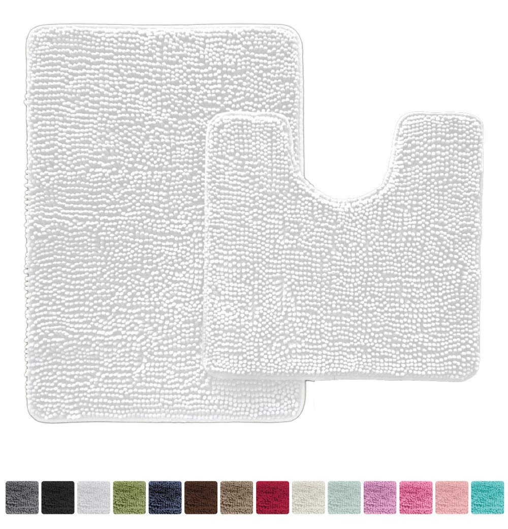 Gorilla Grip Original Shaggy Chenille Bathroom 2 Piece Rug Set Includes Mat Contoured for Toilet and 30x20 Carpet Rugs, Machine Wash/Dry, Perfect Plush Mats for Tub, Shower, Bath Room (White)