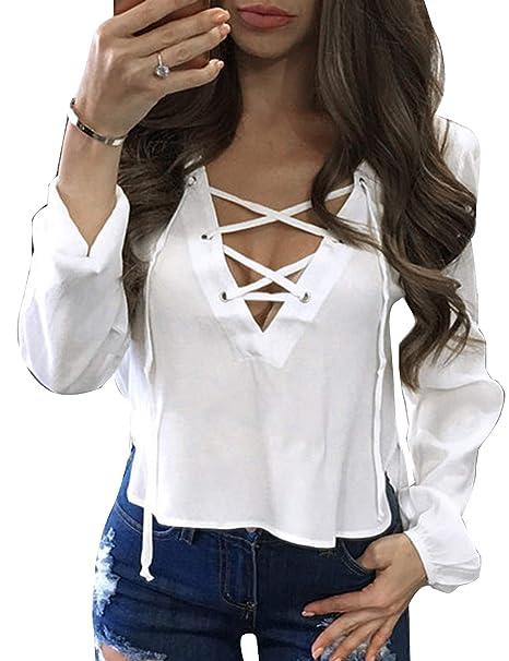 Amazon.com: relipop blusas de mujer con cordón frontal y ...