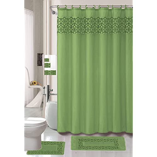 Elegant Bathroom Rug Sets: Green Bathroom Sets With Shower Curtain And Rugs And
