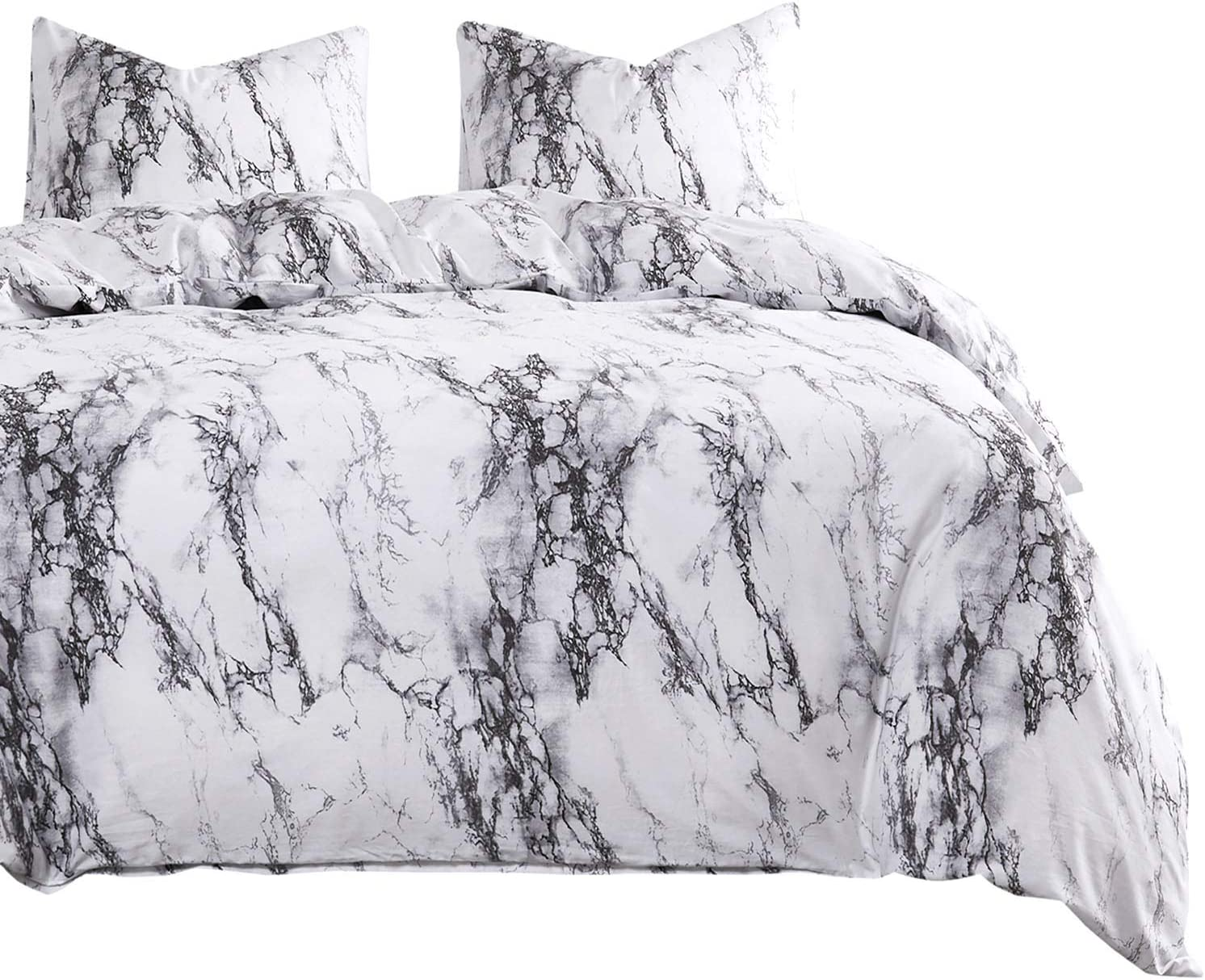 Wake In Cloud - Marble Duvet Cover Set, 100% Cotton Bedding, Black White and Gray Grey Modern Pattern Printed, Zipper Closure (3pcs, Queen Size)