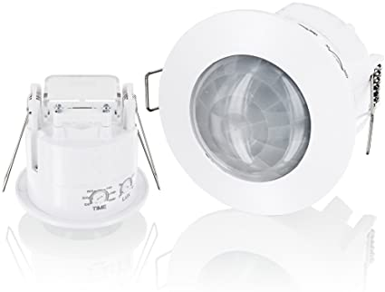 horoz Detector de movimiento empotrable de techo rasante Pinza Blanco 360 ° IR LED Adecuado 1