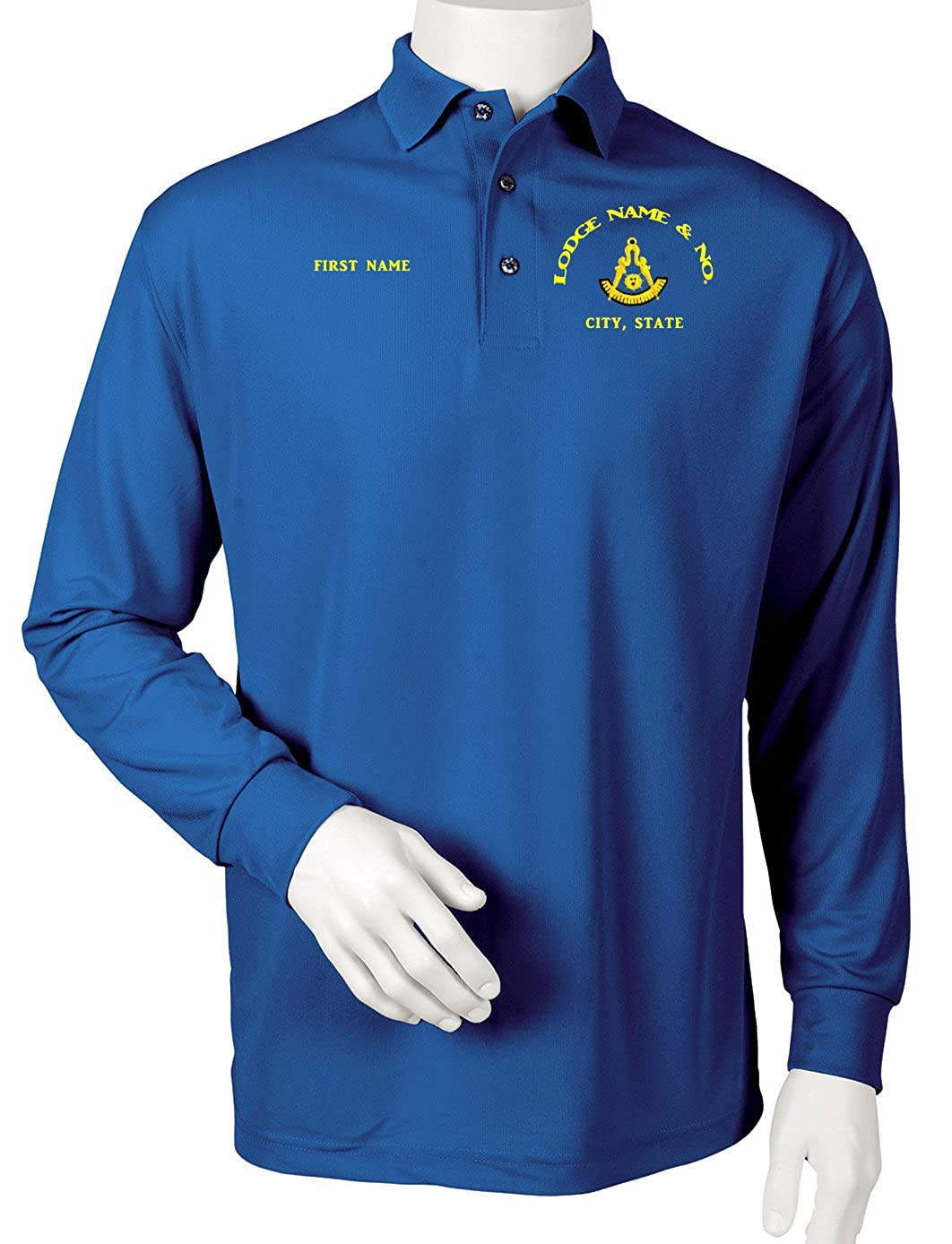 Custom Embroidered Past Master Lodge Shirt Long Sleeve Performance