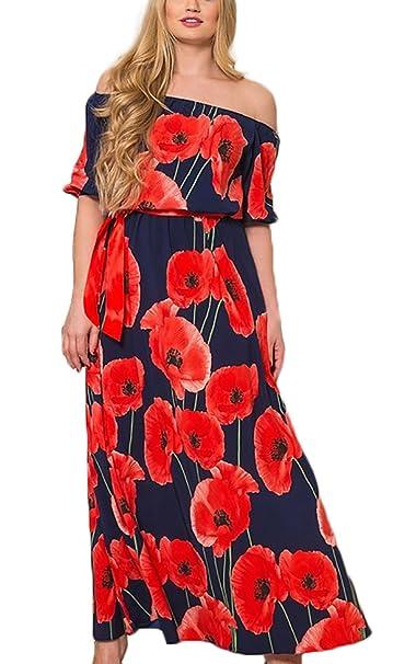 Vestidos Mujer Verano Vintage Estampados Flores Elegantes Manga Corta Cuello Barco Alto Cintura Bohemio Estilo Etnica