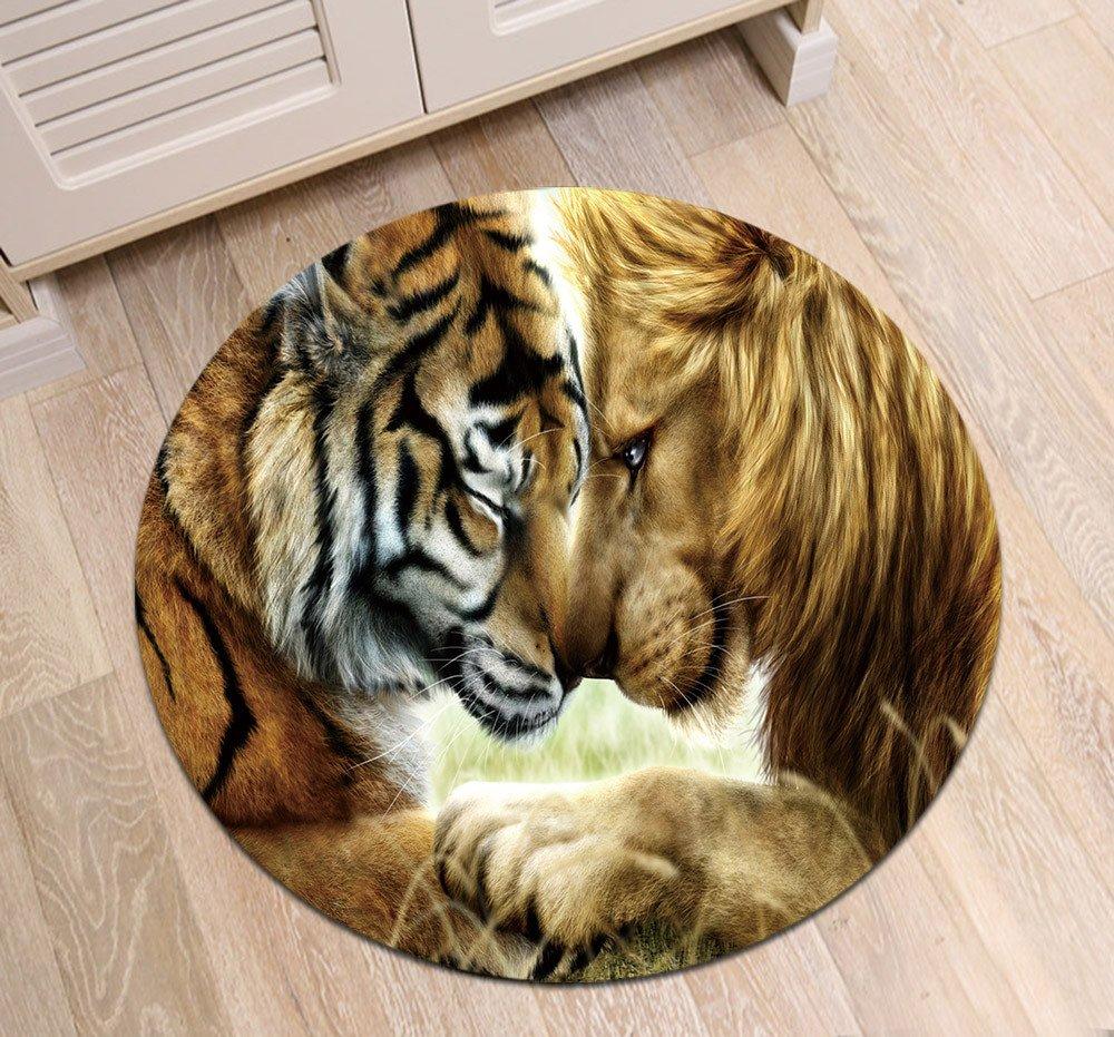 LB Lion Tiger Round Rug Mat for Living Room Kitchen Dining Room Indoor Floor, Brown African Wildlife Savanna Animal Theme Decoration Area Rug Mat, 4'