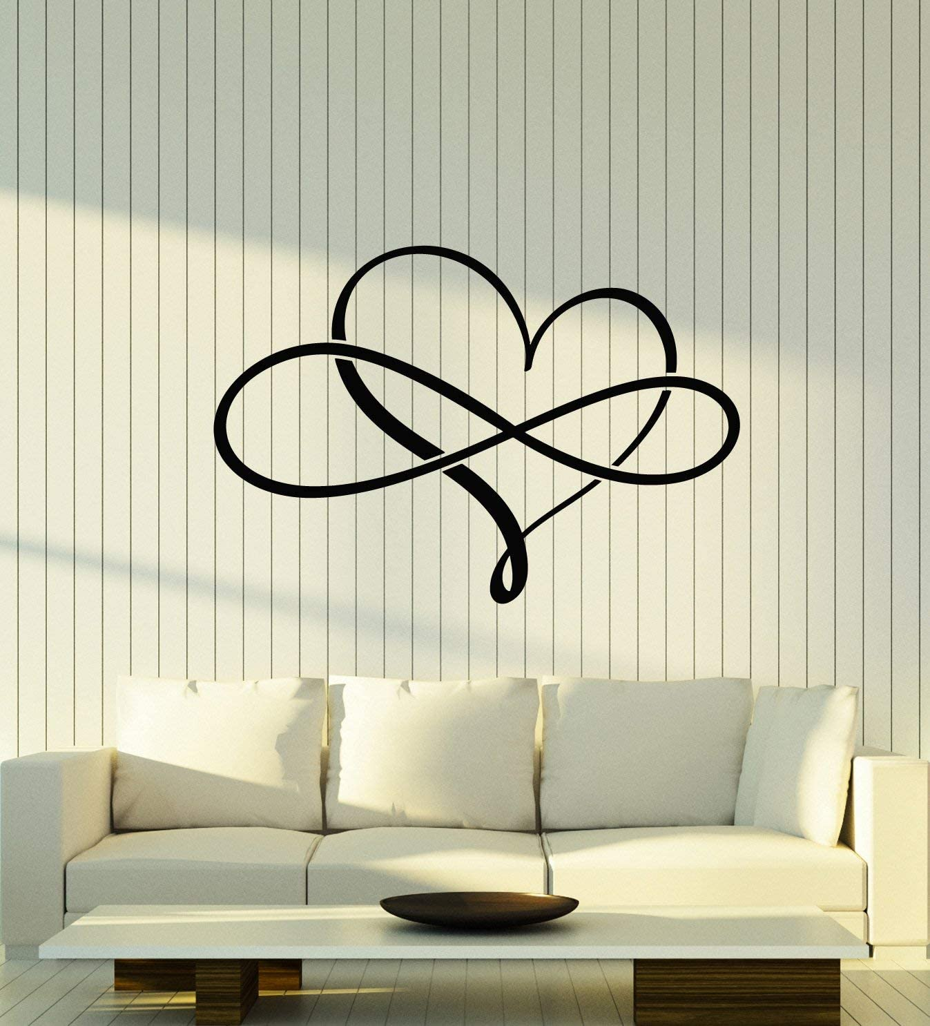 Vinyl Wall Decal Love Forever Heart Symbol of Infinity Stickers Large Decor (2960ig) Black