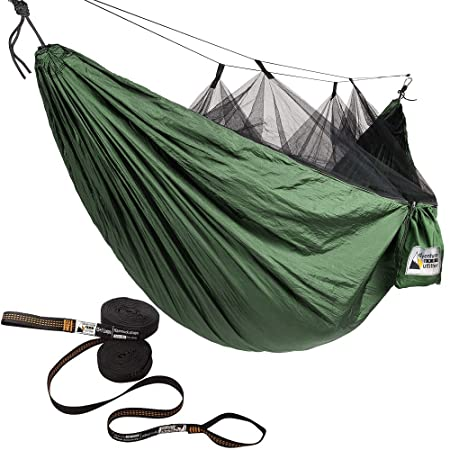 Adventure Gear Outfitter Hammock with Mosquito Net and Free Tree Straps. Lightweight and Strong Ripstop Nylon Perfect for Camping, Backpacking, and Hiking – Includes for Easy Set UP