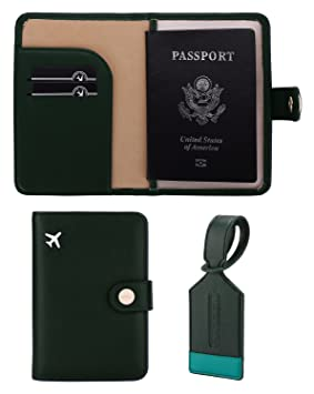 Zoppen RFID bloqueo de viaje pasaporte tarjeta de identificación Holder, funda de viaje, verde Olives