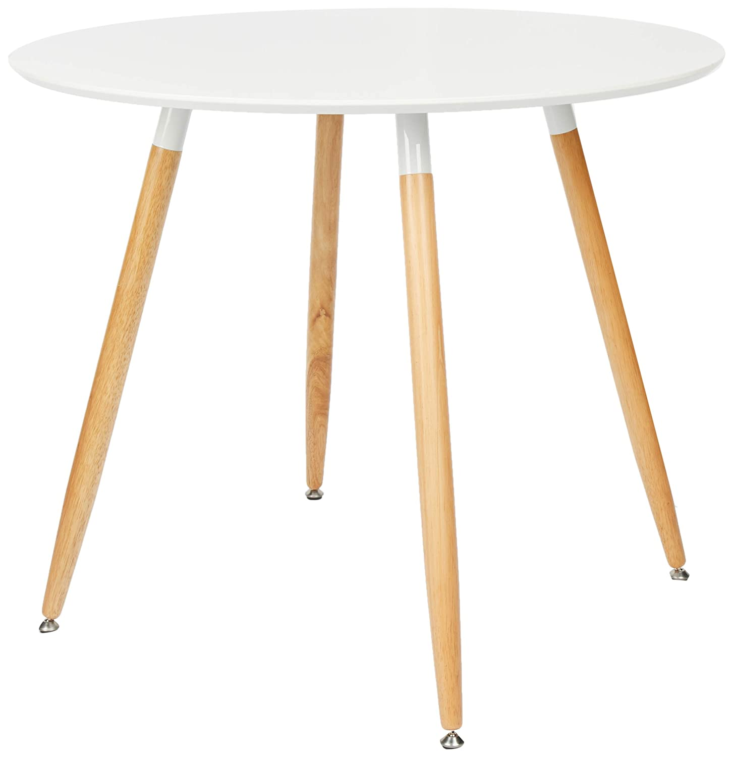 Relaxdays Round Dining Table Arvid Wood Size 74 X 90 Cm Natural Legs Rubber Protective Pads White 90x90x74 Cm Amazon In Home Kitchen