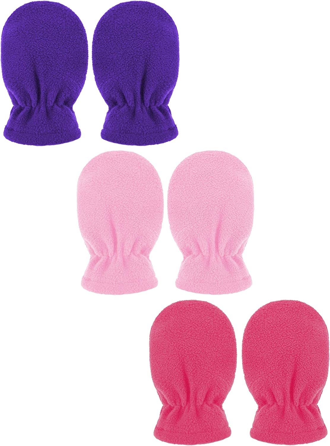 QKURT 3 Pairs Toddler Mittens Full Finger Winter Warm Kids Gloves Lined Fleece Thermal Mittens for 0~3 Years Old Baby Girls Boys