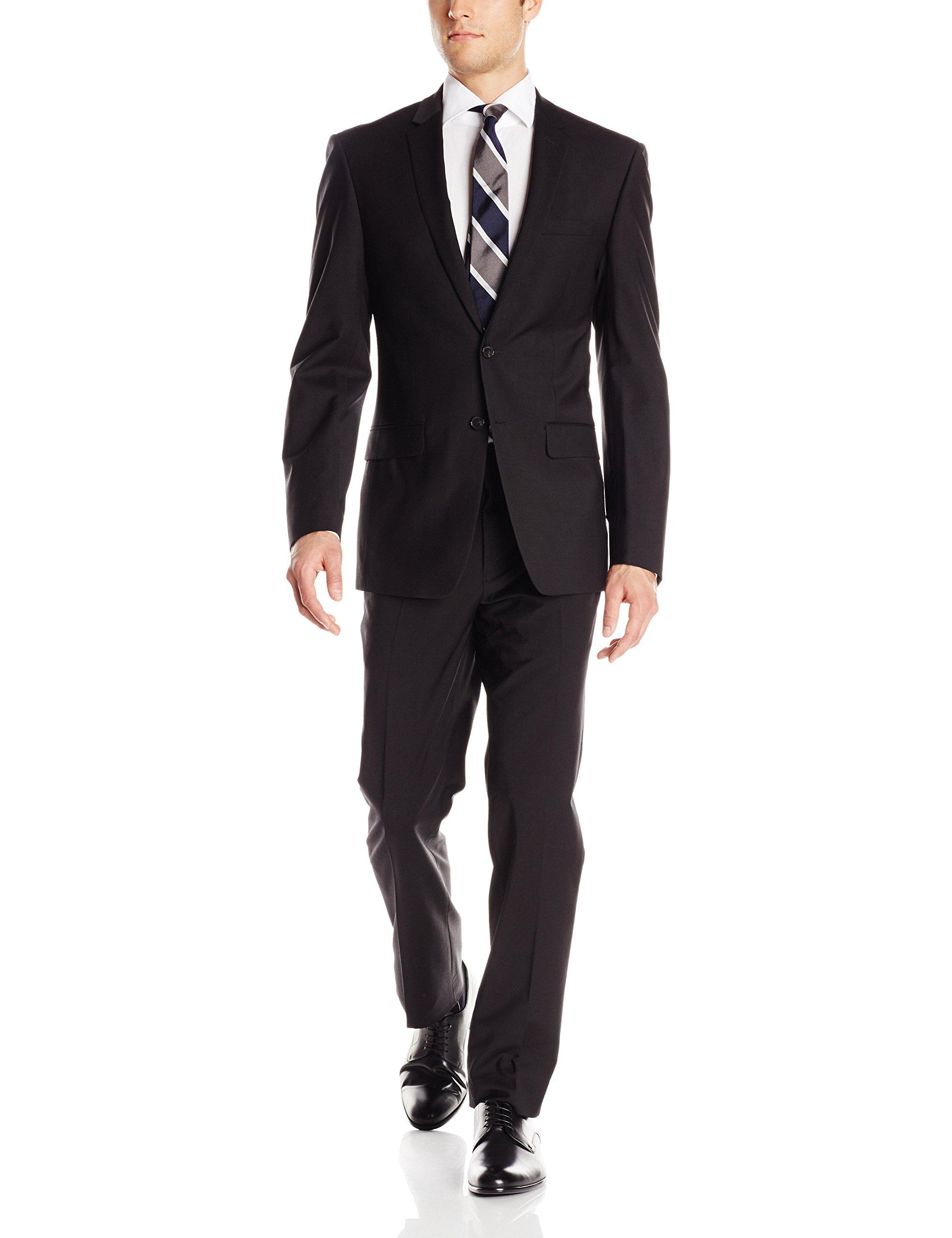 DKNY Men's Driver 2 Button Side Vent Modern Fit Suit 2 Piece, Black, 40/Regular