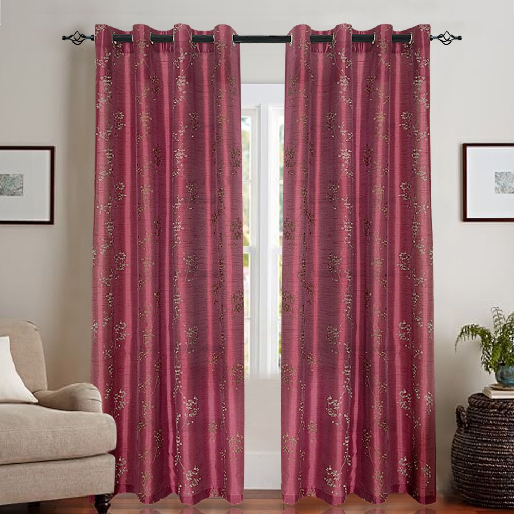 Faux Silk Floral Embroidered Grommet Top Curtains for Bedroom Burgundy Red