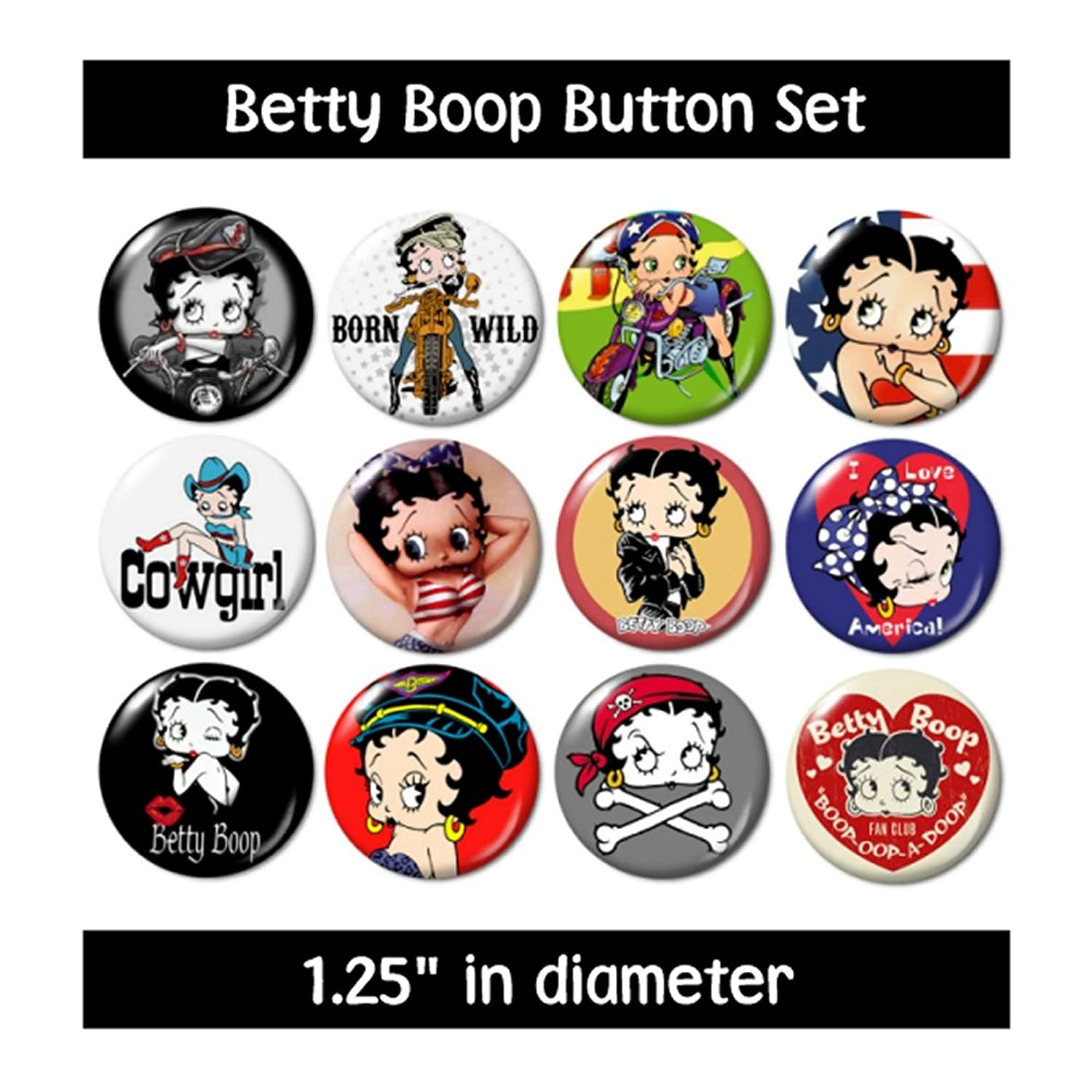 Amazon BETTY BOOP BUTTONS set 1 pins badges 1930s cartoons