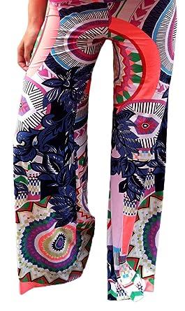Bigood Pantalon A Fleur Femme Large Jambe Sport Yoga Plage Jogging