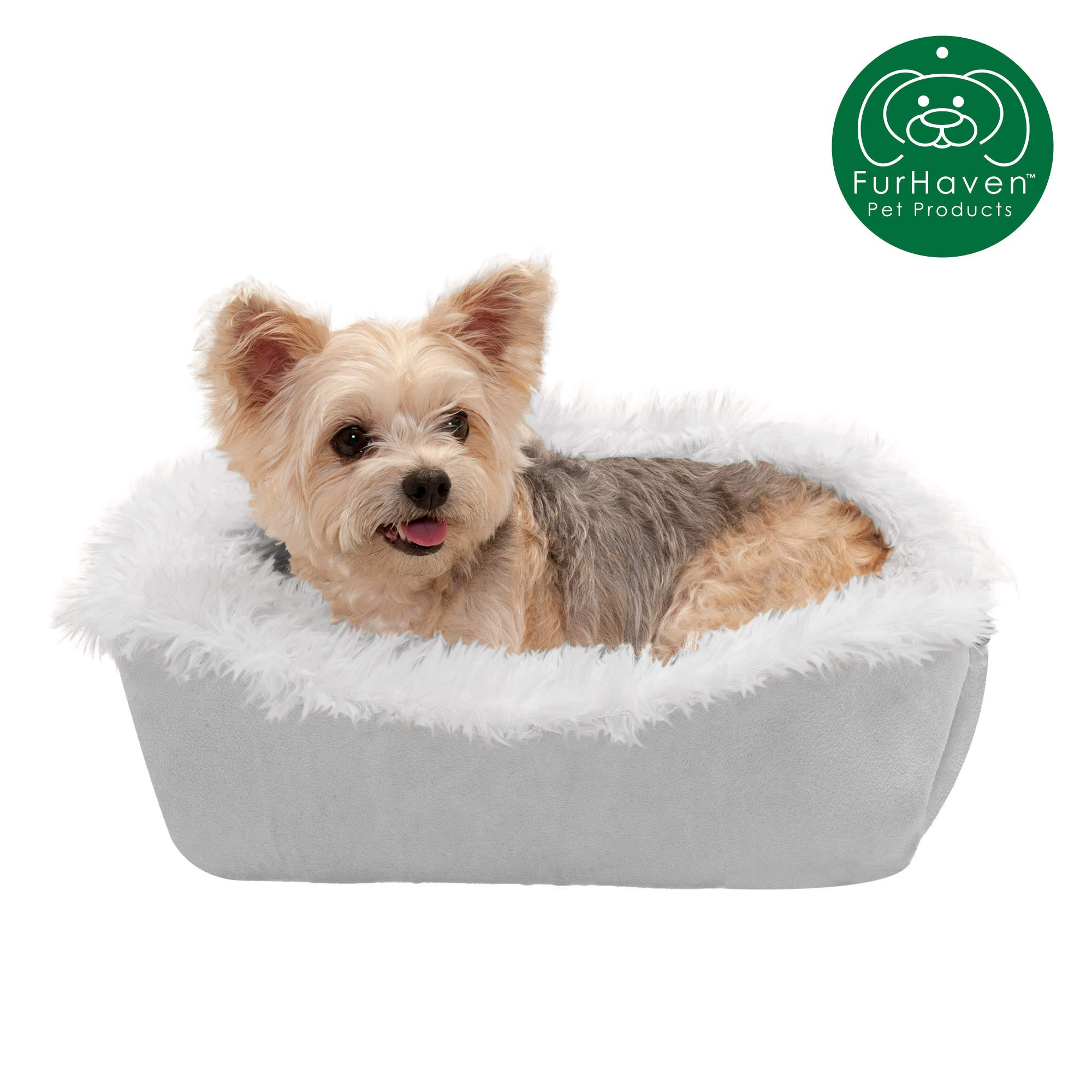 Furhaven Pet Dog Bed | Convertible Insulated Thermal Self-Warming Plush Faux Fur Cuddle Nest Lounger Pet Bed for Dogs & Cats, Silver, Small by Furhaven