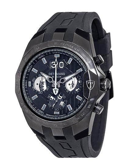 DeTomaso Adrenaline Junkie XXL - Reloj de Cuarzo para Hombres, con Correa de Silicona de Color Negro, Esfera Negra: Amazon.es: Relojes