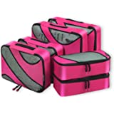 Bagail 6 Set Packing Cubes,3 Various Sizes Travel Luggage Packing Organizers Fushcia