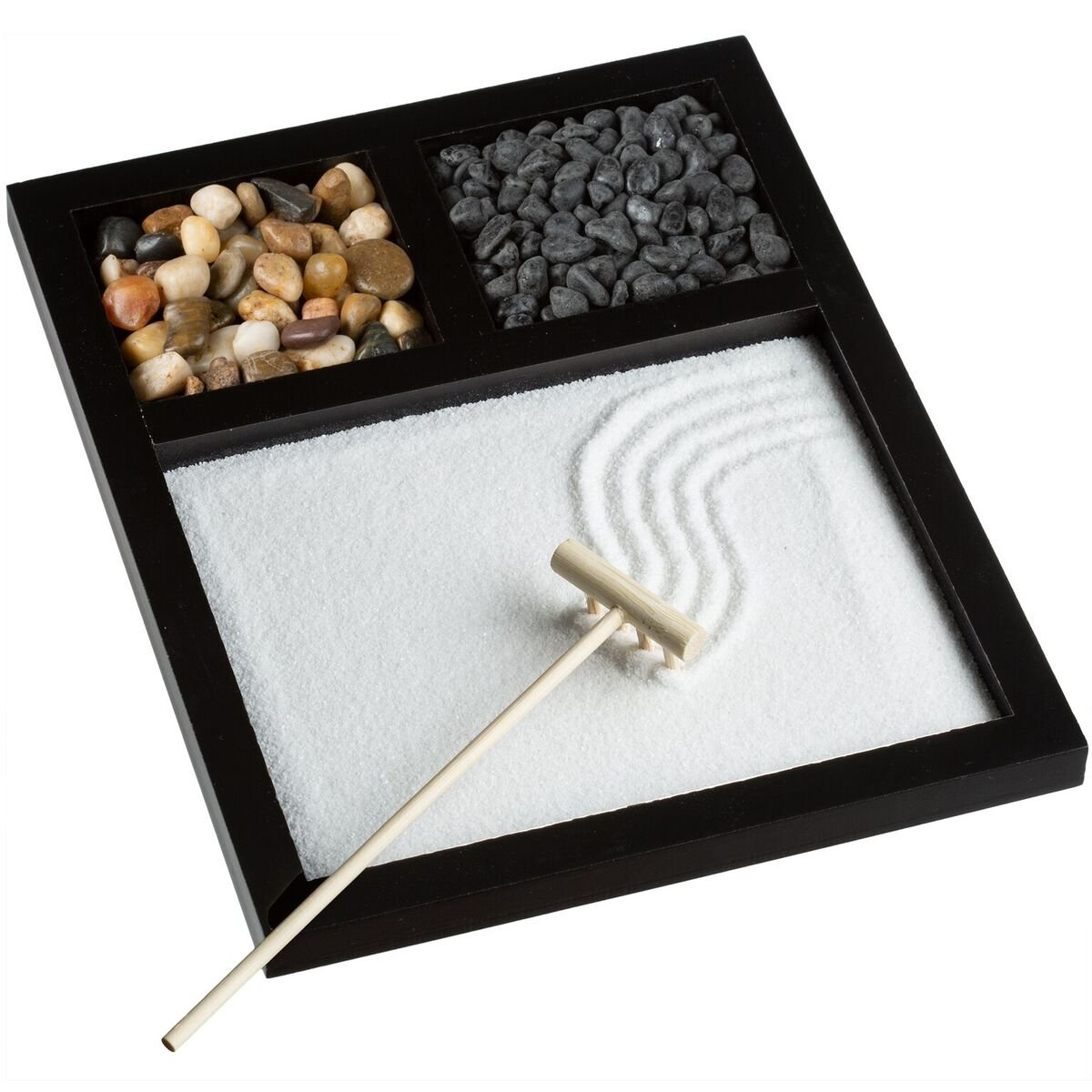 Zen Garden, Meditation Rock and Sand Garden for Desk and Home, 8 x 5 inches Mini Zen Kit, Includes Rake and Natural River Rocks, 4 Pieces, Ideal for Office, Zen Corner