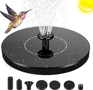 Solar Fountain Pump, 1.4W Solar Fountain for Bird Bath with 7 Nozzles, Free Standing Solar Bird Bath Fountain, Solar Powered Floating Fountain for Pond, Pool, Garden, Outdoor