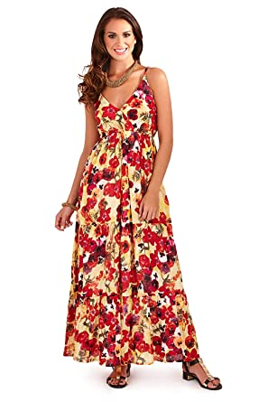 bd0649ca2cbd Pistachio Womens Strappy Floral Maxi Dresses - Red/Poppy - Medium - UK  12-14: Amazon.co.uk: Clothing