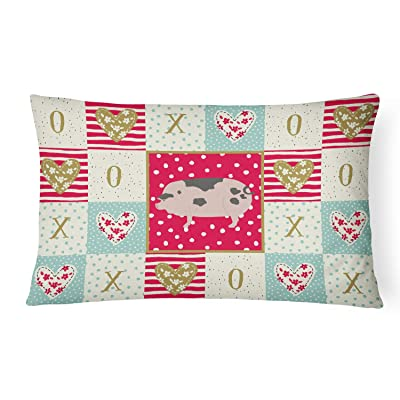 Caroline's Treasures CK5367PW1216 Gloucester Old Spot Pig Love Canvas Fabric Decorative Pillow, 12H x16W, Multicolor : Garden & Outdoor